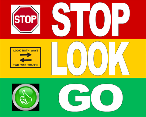 Stop Look Go Floor Sign