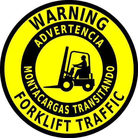 Warning Forklift Traffic Floor Sign (bilingual)
