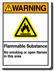 Warning Flammable Substance Aluminum Sign