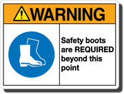 Warning Safety Boots Required Aluminum Sign