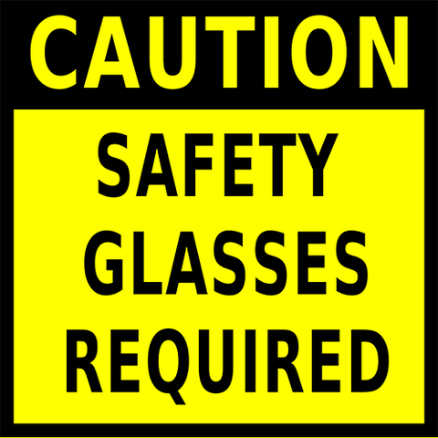 Caution Safety Glasses Required Floor Sign