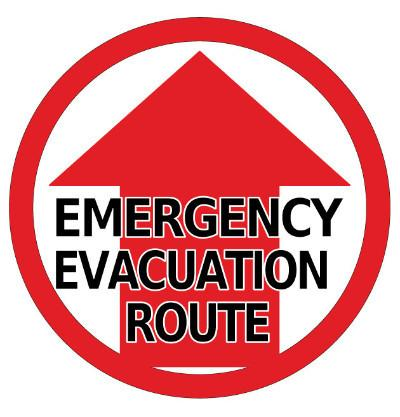"24"" Emergency Evacuation Route Floor Sign"