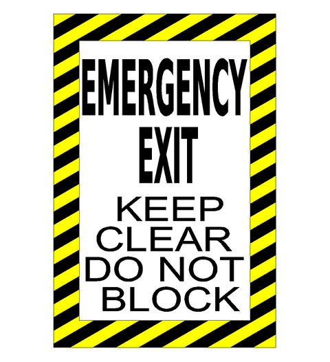 Emergency Exit Do Not Block Floor Sign