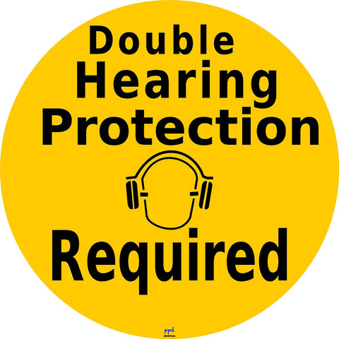 Double Hearing Protection Floor Sign