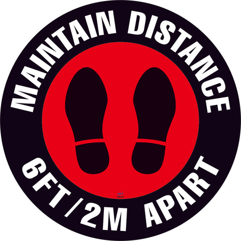 Maintain Distance Floor Sign