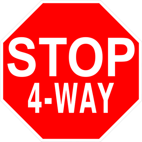 Stop 4-Way Floor Sign