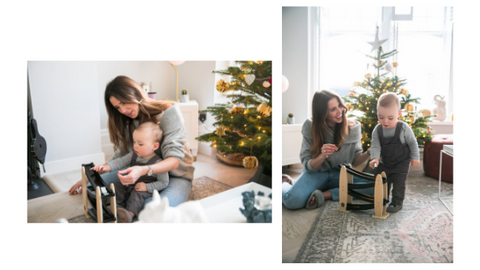 Mama + Max Mama Series with Anneli Bush and Rio Ezra Bush playing with Kid's Concept Race Track at Christmas