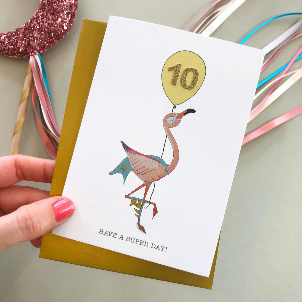 Superhero Flamingo Birthday Card