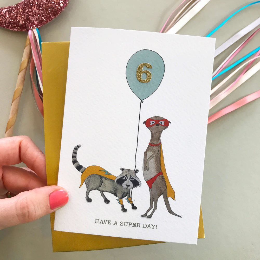 Superhero Raccoon Birthday Card