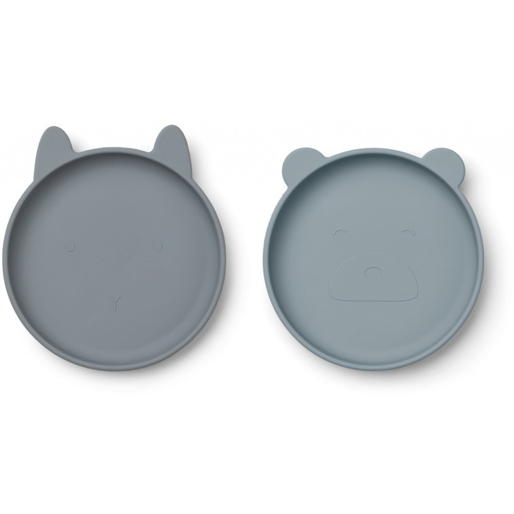 Olivia Silicone Plates (pack of 2) - Blue Mix