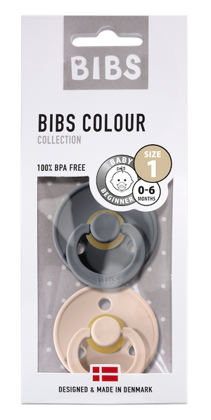 BIBS Natural Rubber Pacifier (Pack of 2) - Iron & Blush