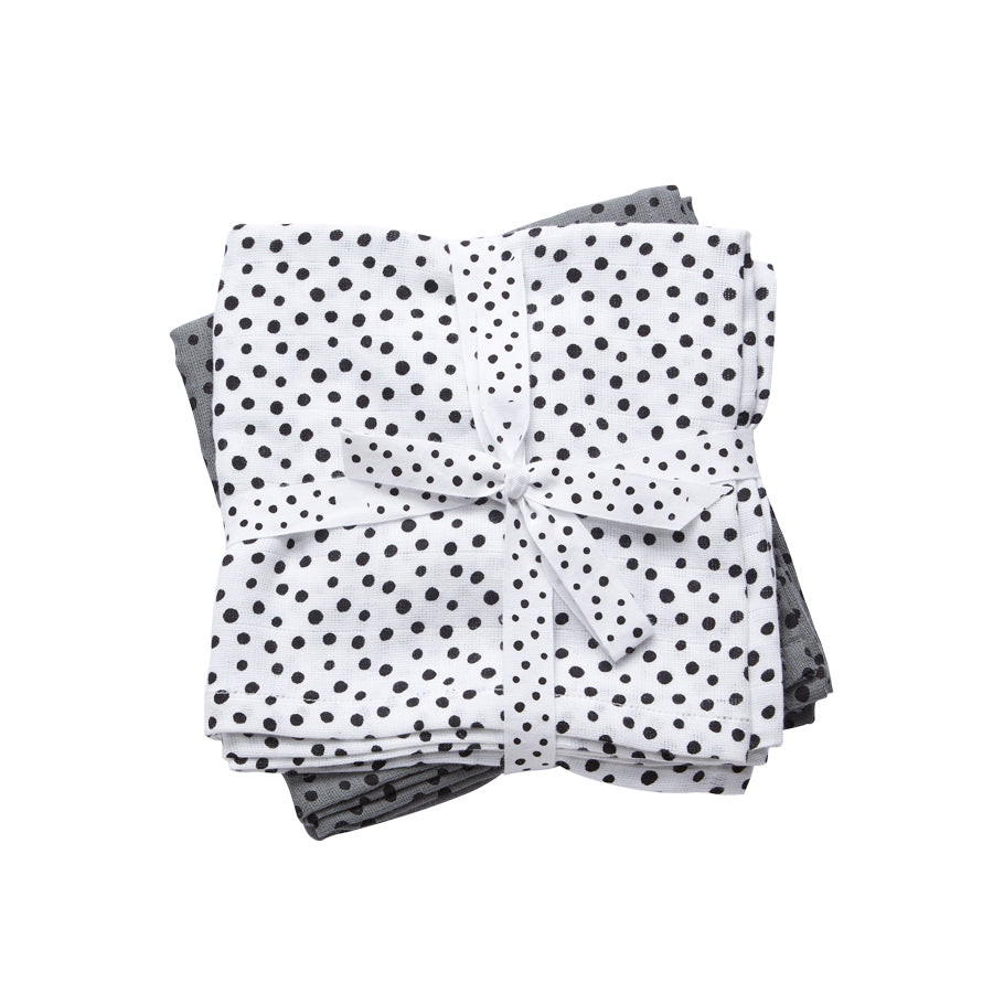 Cotton Muslin Burp Cloths (pack of 2) - Grey Happy Dots