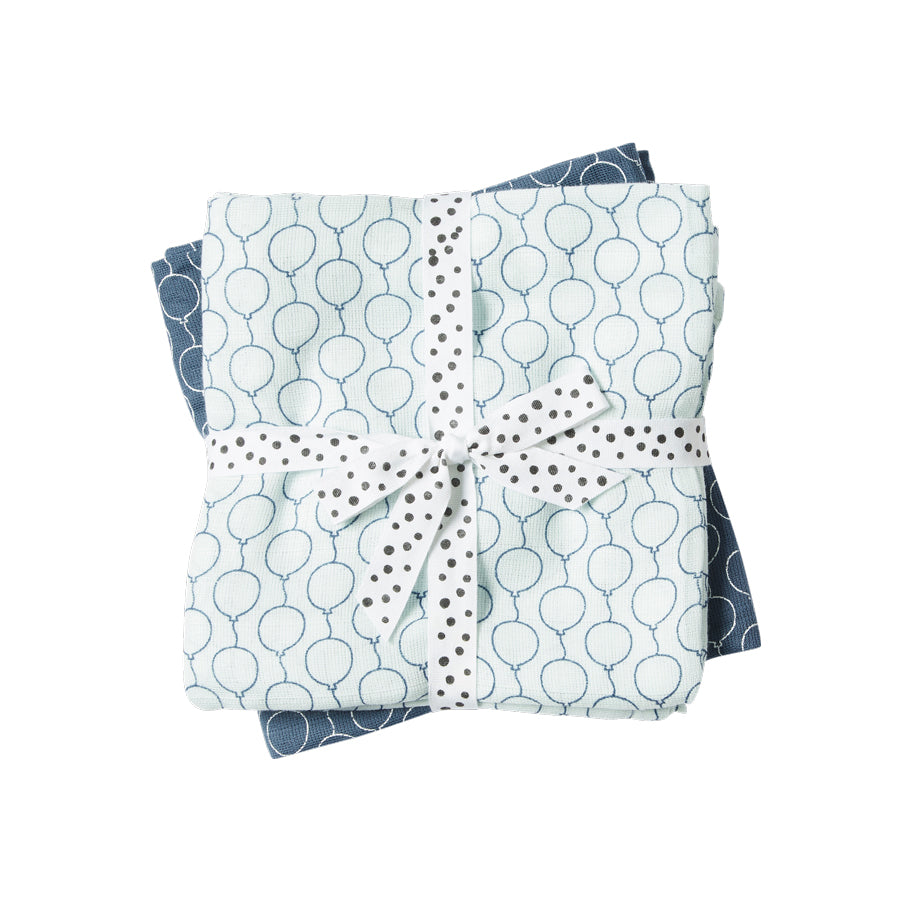 Done by Deer Cotton Muslin Burp Cloths (pack of 2) - Blue Balloons