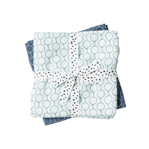 Cotton Muslin Burp Cloths (pack of 2) - Blue Balloons