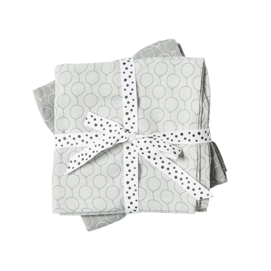 Cotton Muslin Burp Cloths (pack of 2) - Grey Balloons