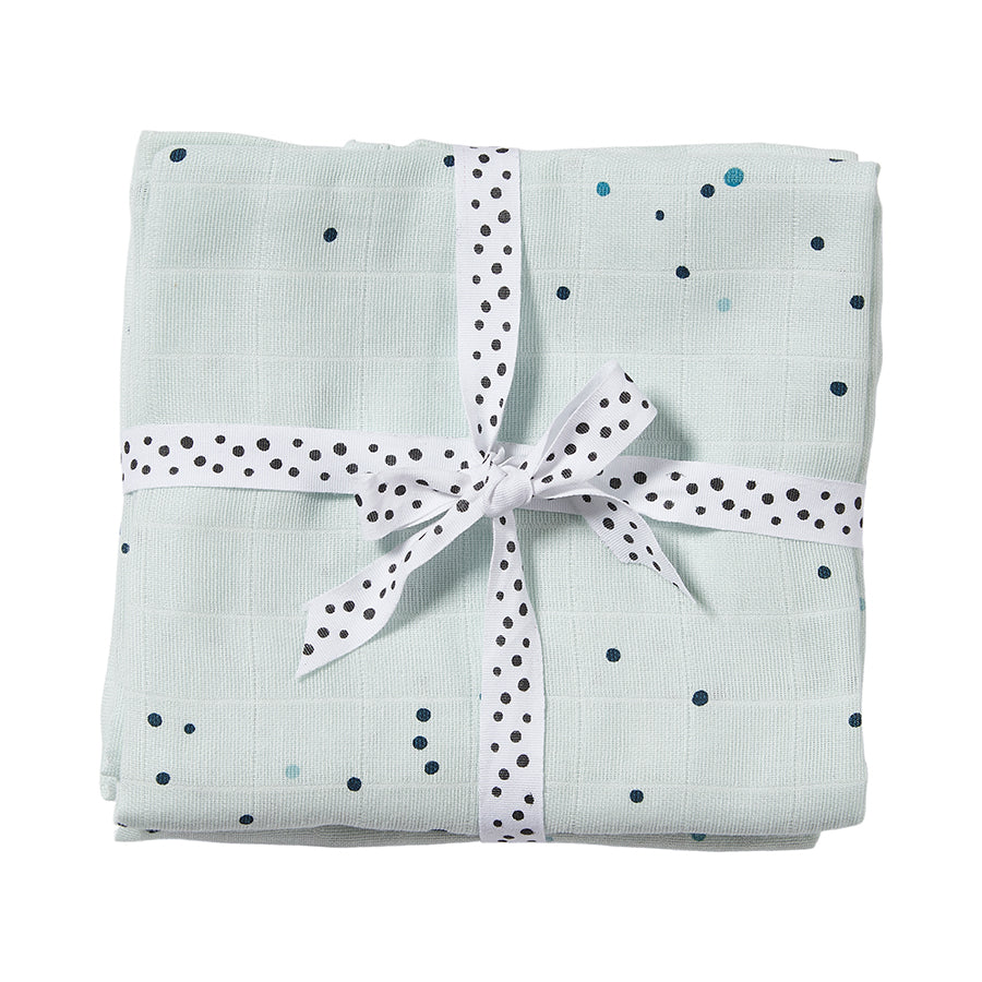 Cotton Muslin Burp Cloths (pack of 2) - Blue Dreamy Dots