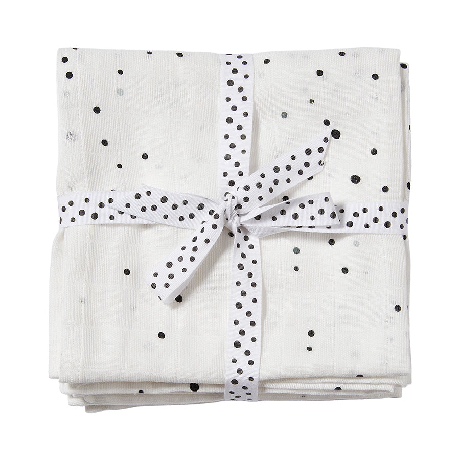 Cotton Muslin Burp Cloths (pack of 2) - White Dreamy Dots