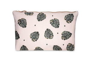 Jungle Leaf Rose Travel Pouch