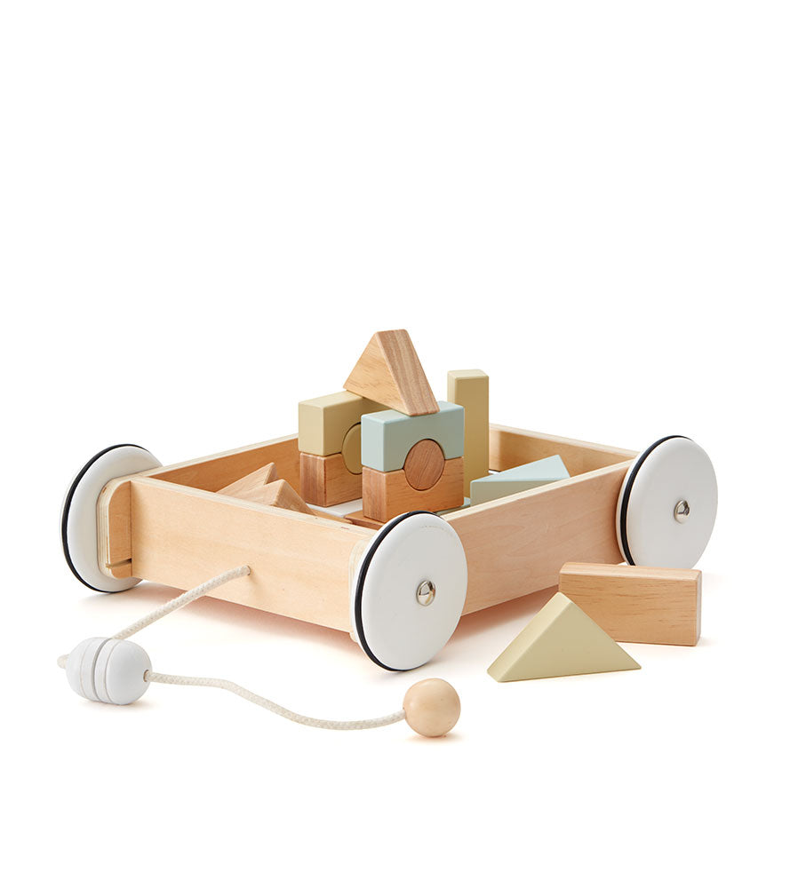 Kid's Concept Wooden Wagon with Blocks