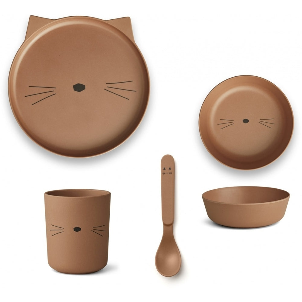Bamboo Tableware Box Set - Cat in Terracotta
