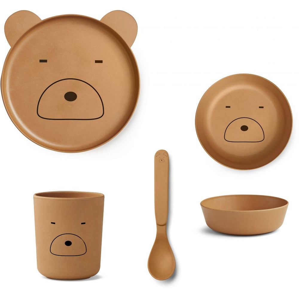 Bamboo Tableware Box Set - Mr Bear Mustard