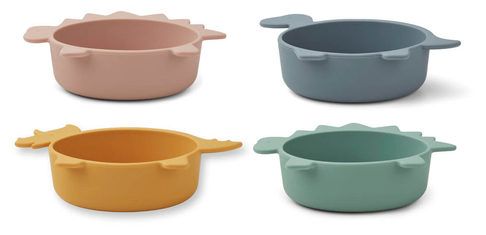 Iggy Silicone Bowls (pack of 4) - Dino Multi Mix