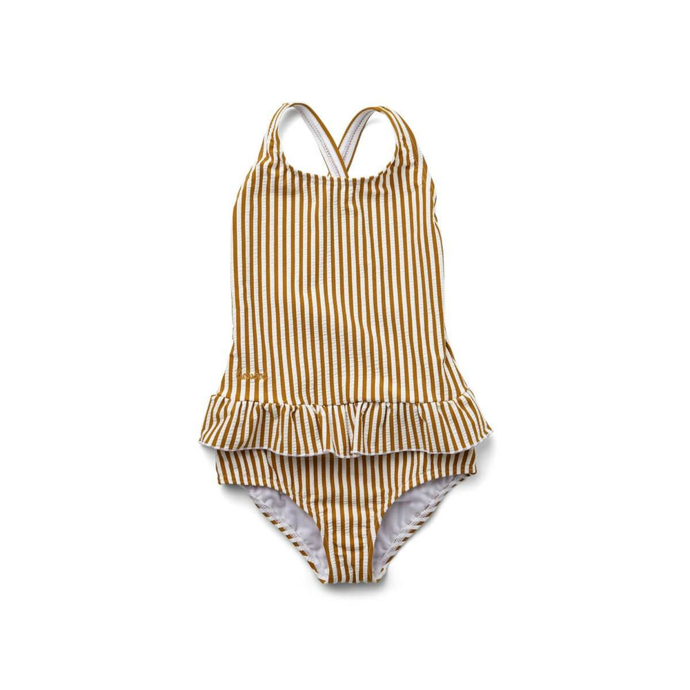 Amara Seersucker Swimsuit - Mustard & White Stripe
