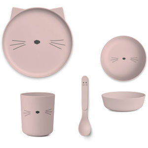 Bamboo Tableware Box Set - Cat in Rose
