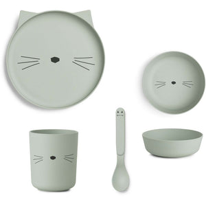Bamboo Tableware Box Set - Cat in Dusty Mint