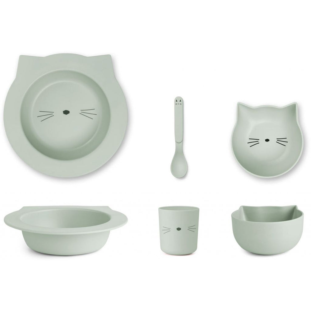 Barbara Bamboo Tableware Baby Set - Cat in Dusty Mint