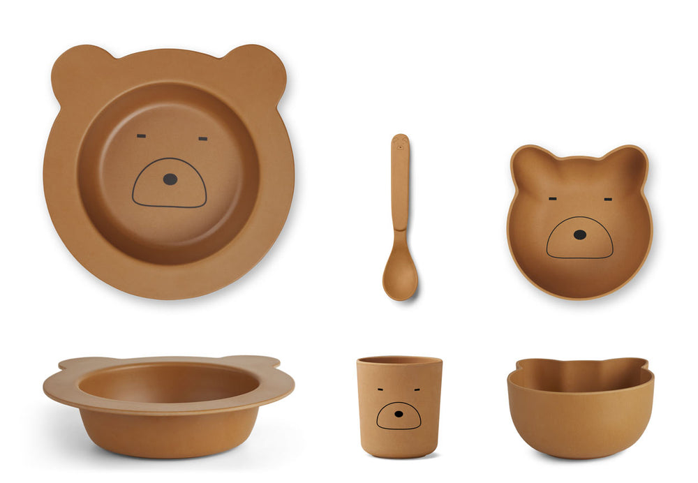 Barbara Bamboo Tableware Baby Set - Mr Bear Mustard