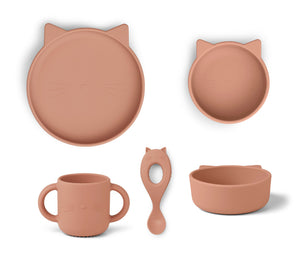 Vivi Silicone Baby Set - Cat Dark Rose
