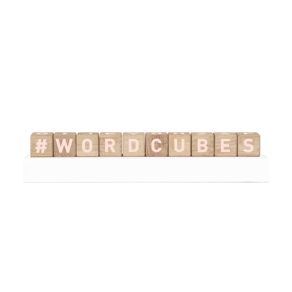 Wooden Word Cubes in Pink Blush