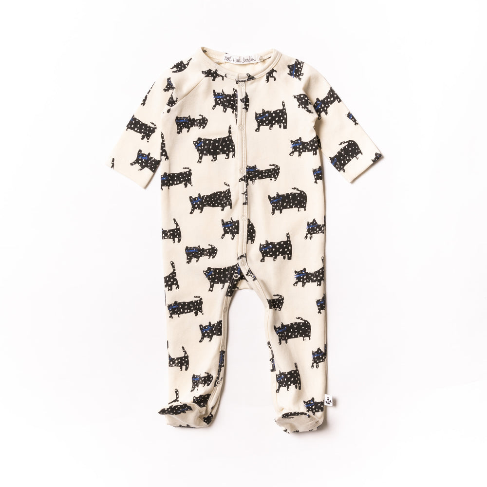 Baby Black Cat Footie PJ