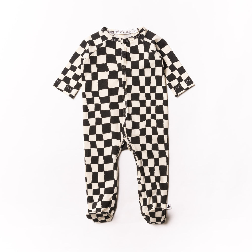 Baby Black Checker Footie PJ