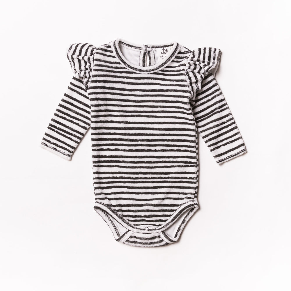Baby Black Stripe Terry Ruffle Body