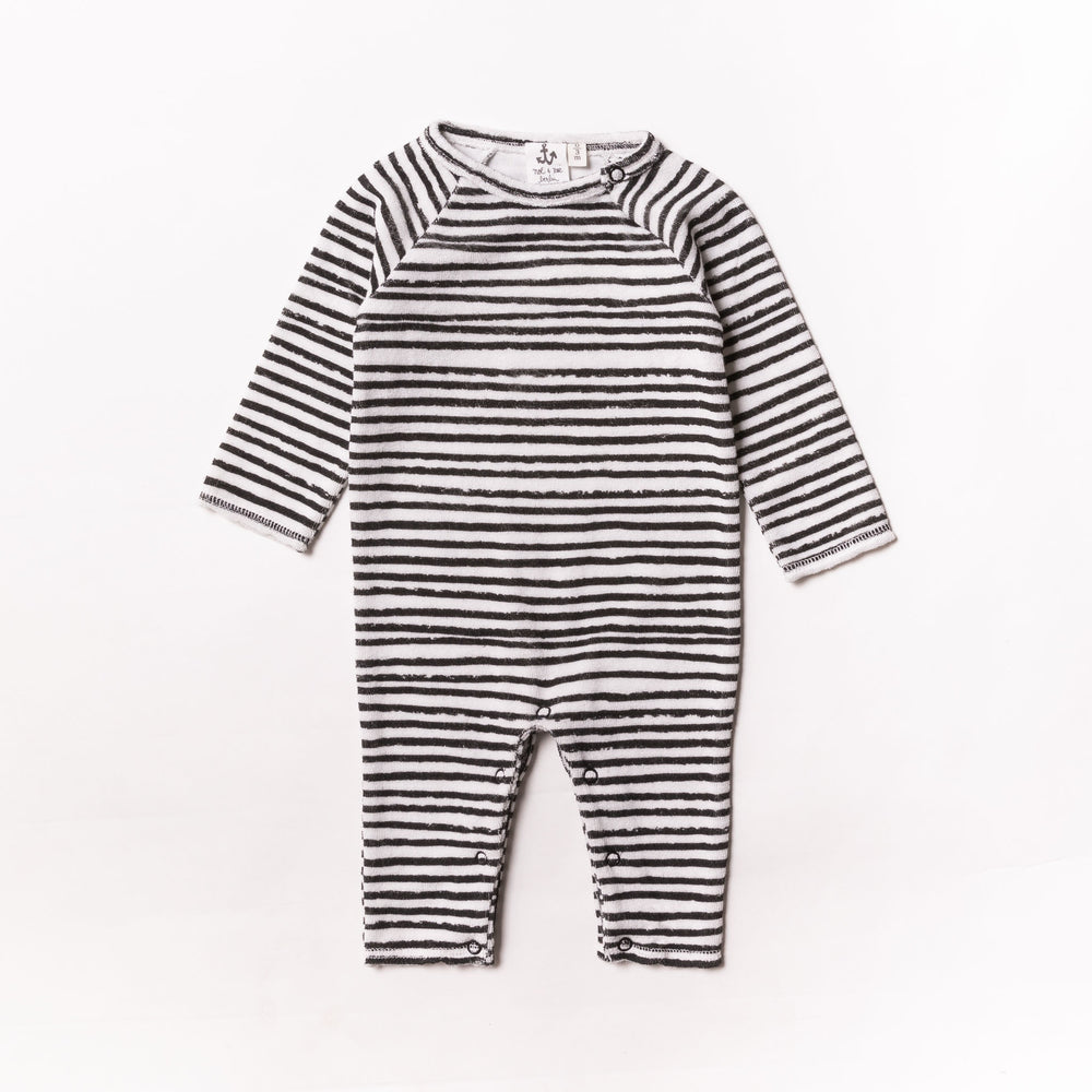 Baby Black Stripe Terry Romper