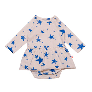 Longsleeve Body with Skirt Blue Stars
