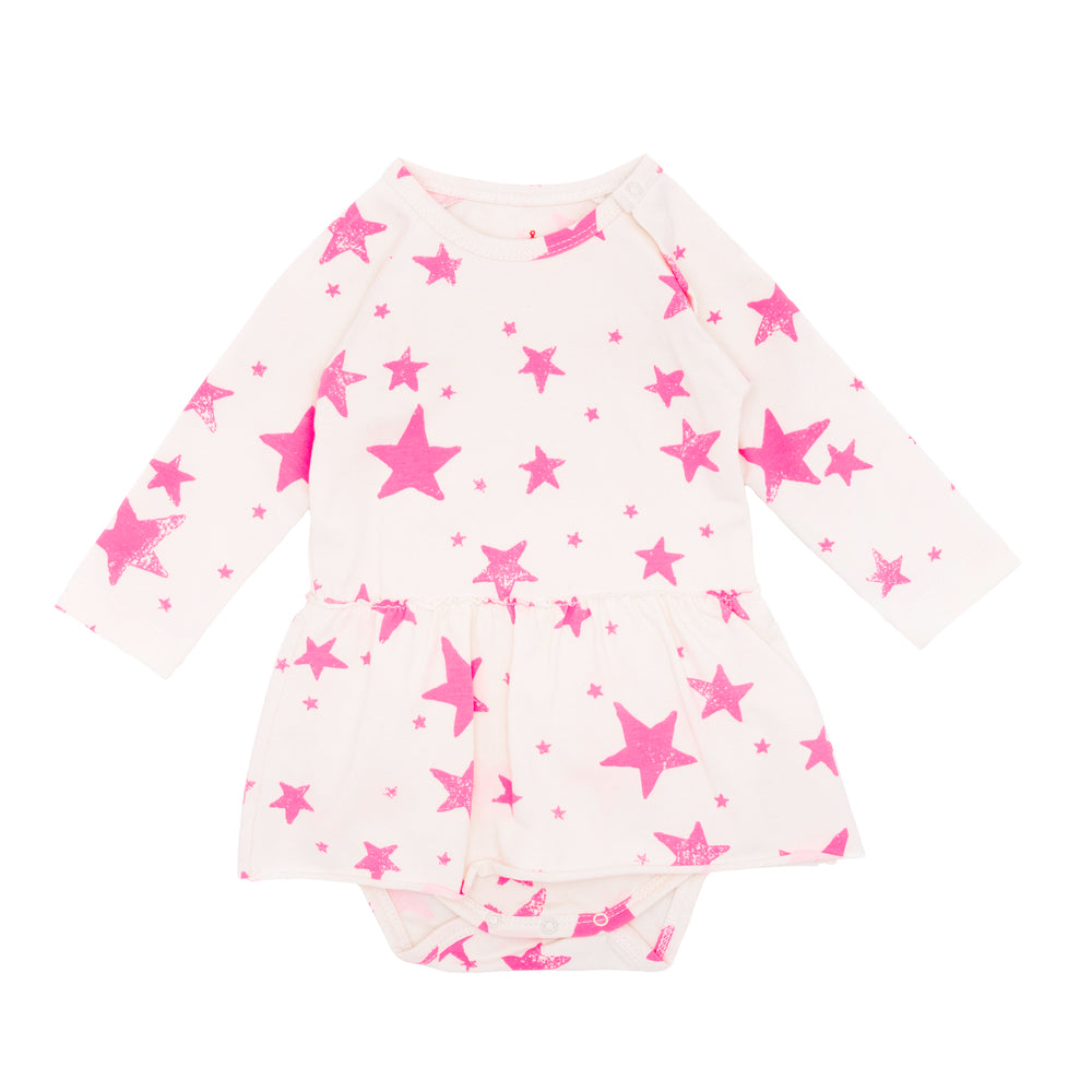 Longsleeve Body with Skirt Neon Pink Stars