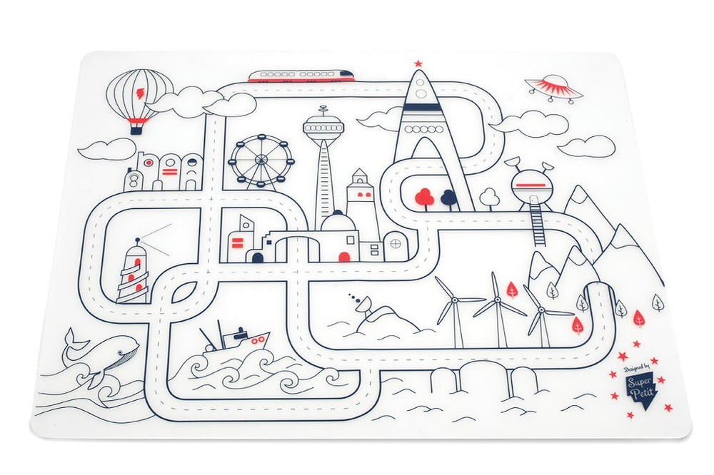 Super Petit Silicone Colouring in Placemat – City Adventure