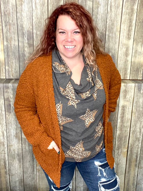 Movie Night Cardi- Slouchy Popcorn: Dark Rust