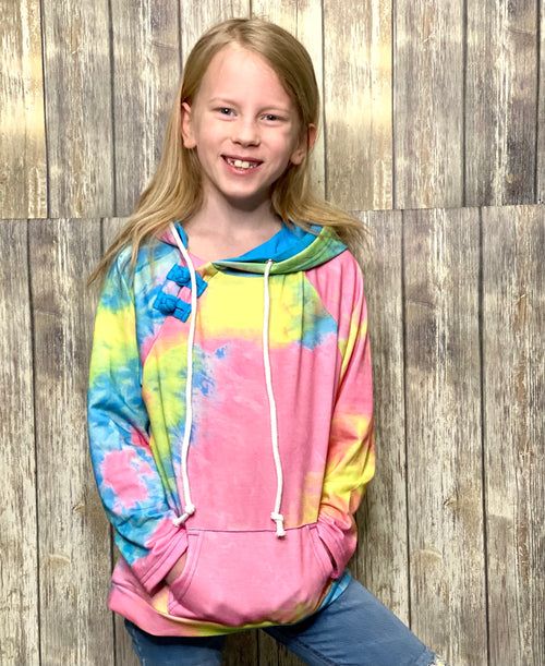Bright Days Ahead Hoodie- Girls Tie Dye