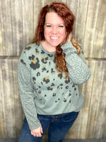 Teal the Show Top- Easel Long Sleeve Animal Print