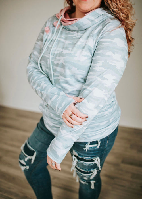 Here For It Hoodie- Monochromatic Camo