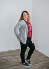 Oh Snap! Cardigan- Grey Stripe