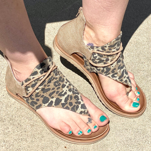 Roped In Sandals-Tan Cheetah