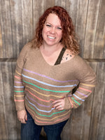 Always a Rainbow Striped Sweater- Mocha