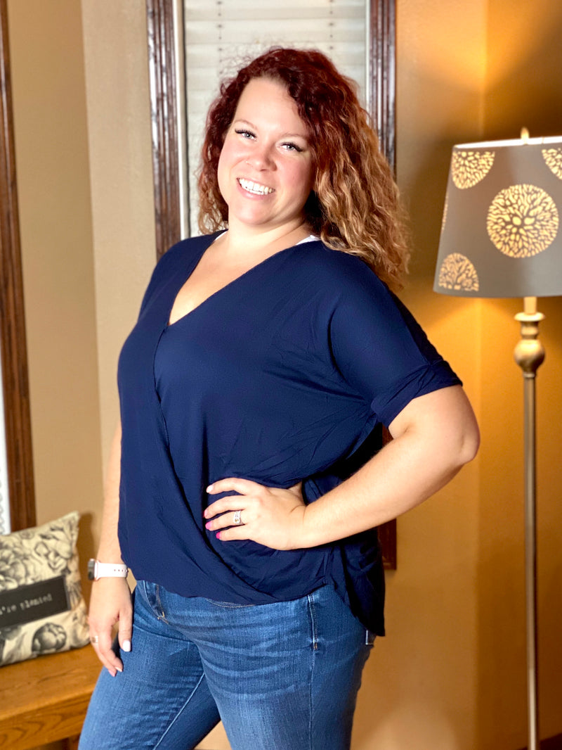 Wrapped Up Top- Navy V-neck