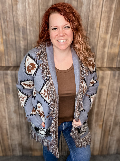 Clear, Blue Skies Cardigan- Blue Aztec with Fringe