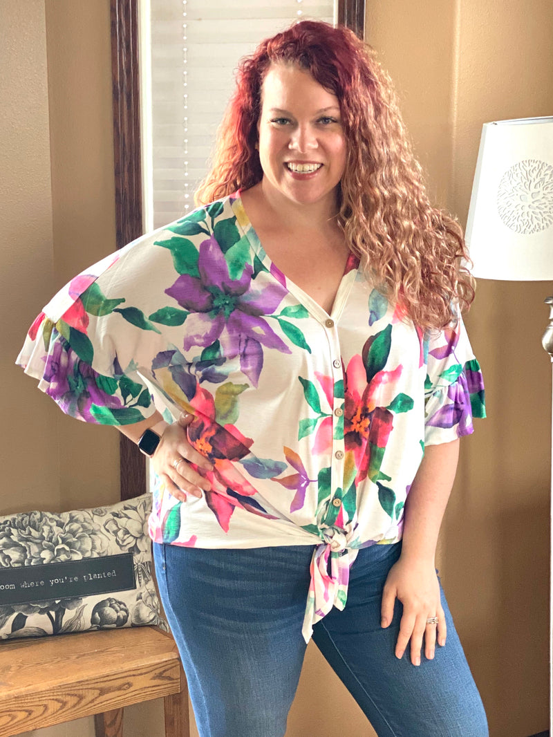 Something More- Floral, Ruffle Sleeve Top (Plus Only)